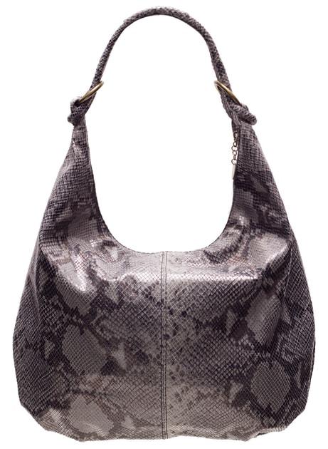 b82d05ea23 Glamadise.sk - Kožená kabelka s hadím vzorom a krúžky - sivá - Glamorous by  GLAM - Kožené kabelky - - GLAM