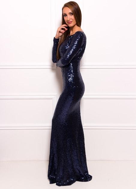 8f463cef1616 Glamadise.sk - Spoločenské luxusné dlhé šaty s flitrami a rukávmi - tmavo  modrá - Due Linee - Dlhé šaty - Dámske oblečenie - GLAM