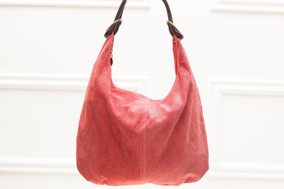 3548d75681 Glamadise.sk - Dámska kožená kabelka s krúžkami perforovaná - staroružová -  Glamorous by GLAM - Kožené kabelky - - GLAM