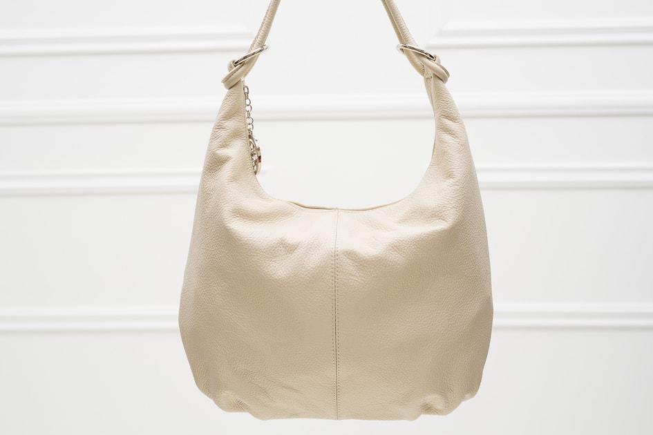 4d42a4037c Glamadise.sk - Kožená kabelka cez rameno s kruzky - svetlo béžová -  Glamorous by GLAM - Cez rameno - Kožené kabelky - GLAM