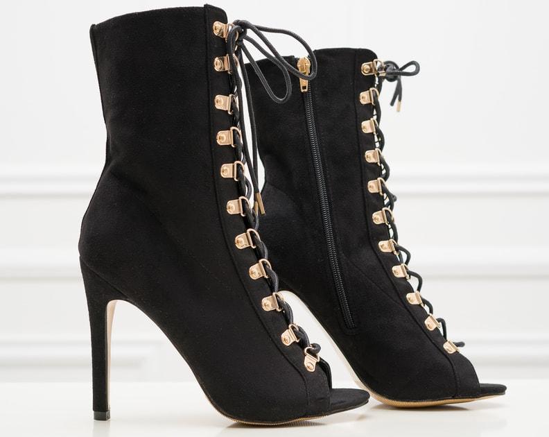 35a411fef6 Glamadise.sk - Dámske letné šnurovacie čižmy čierne - GLAM GLAMADISE shoes  - Kotníkové - Dámske topánky - GLAM