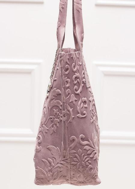 13356de556 Glamadise.sk - Kožená kabelka cez plece radenie s kvetmi - ružová -  Glamorous by GLAM - Kožené kabelky - - GLAM