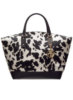 Real leather handbag Glamorous by GLAM - Black-white