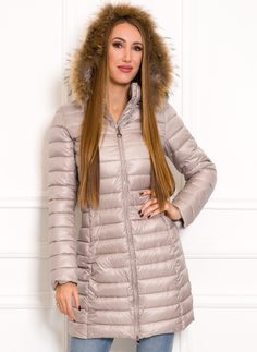 Women's winter jacket with real fox fur Due Linee - Beige