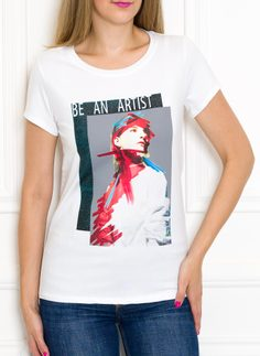 Women's T-shirt Due Linee - White
