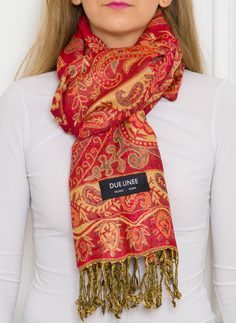 Women's scarf Due Linee - Red