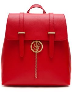 Women's real leather backpack Glamorous by GLAM - Red