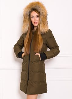 Due Linee Women's winter jacket with real fox fur - Green