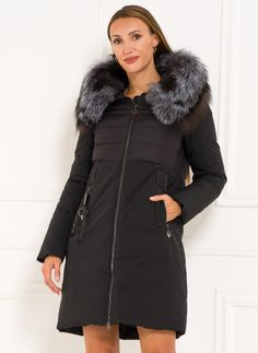Winter jacket with real fox fur Due Linee - Black