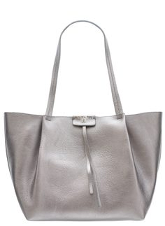 Real leather shoulder bag PATRIZIA PEPE - Silver