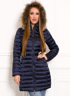 Women's winter jacket with real fox fur Due Linee - Dark blue