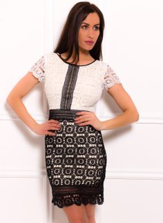 Lace dress Due Linee - Black-white