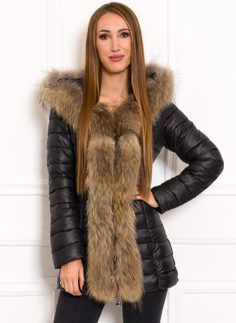 Due Linee Women's winter jacket with real fox fur - Black
