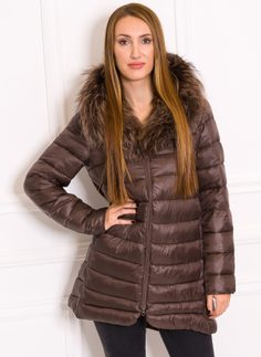 Women's winter jacket with real fox fur Due Linee - Brown