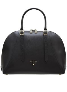 Real leather handbag Guess Luxe - Black