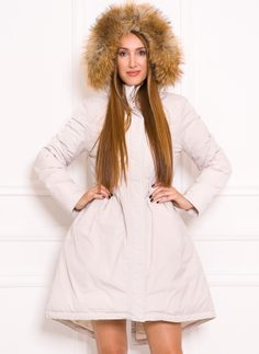 Women's winter jacket with real fox fur Due Linee - Creme