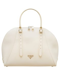 Real leather handbag Guess Luxe - White