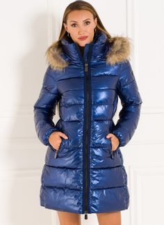 Winter jacket with real fox fur Due Linee - Blue