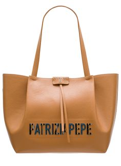 Real leather shoulder bag PATRIZIA PEPE - Beige