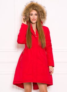Women's winter jacket with real fox fur Due Linee - Red
