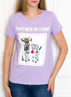Women's T-shirt Due Linee - Violet
