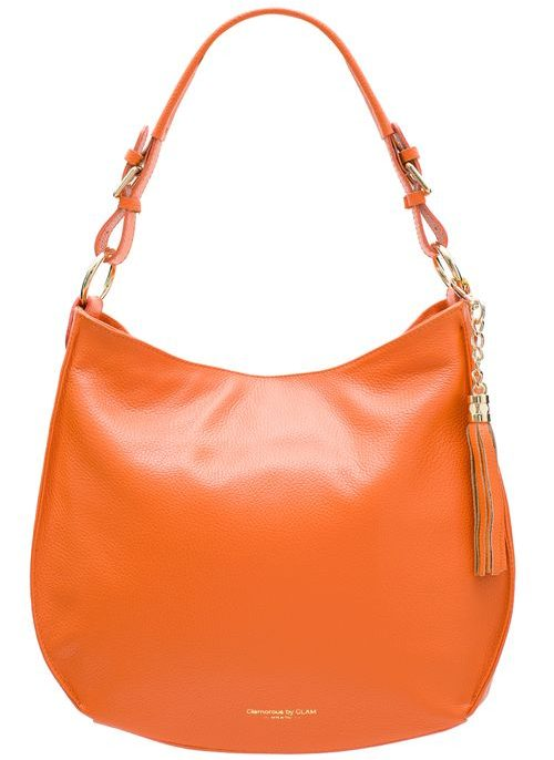 Real leather shoulder bag Glamorous by GLAM - Orange