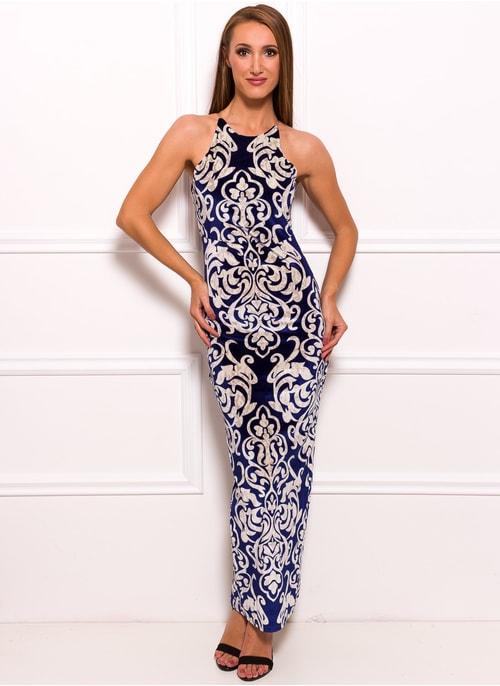 3590c46aa751 Spoločenské dlhé šaty s motívom kvetín - modrá ...