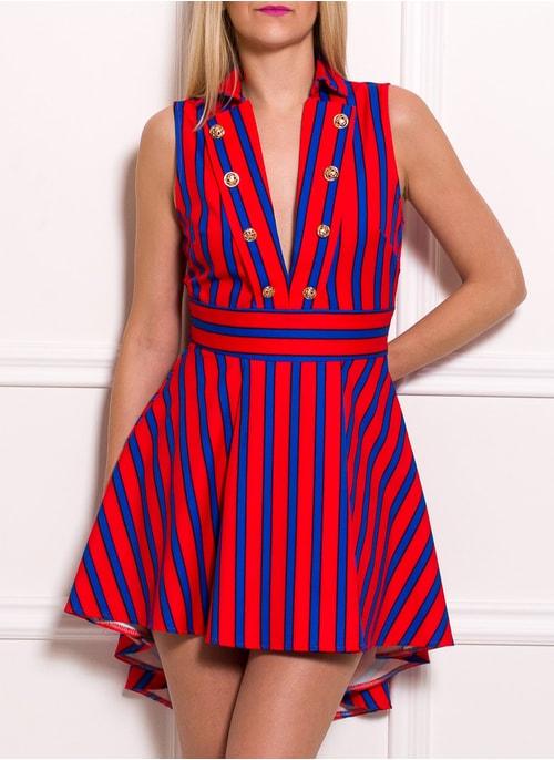 6eb70c17f364 Dámské luxusní šaty s pruhy a hlubokým výstřihem modro - oranžová ...