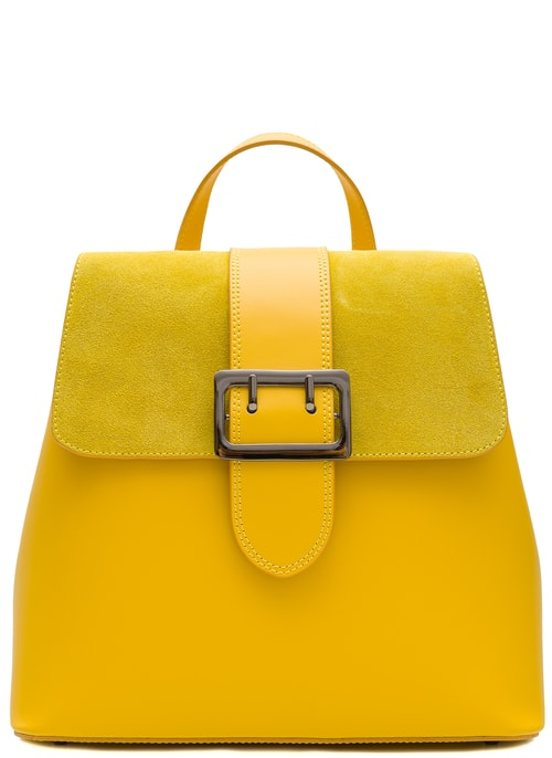 Women's real leather backpack Glamorous by GLAM - Yellow