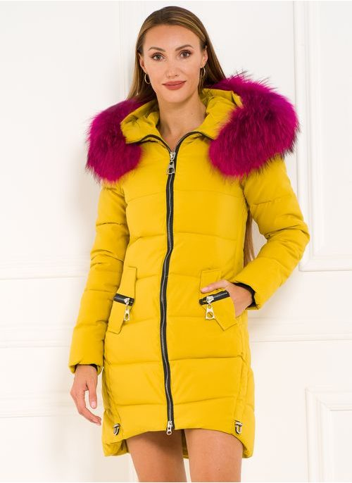 Winter jacket with real fox fur Due Linee - Yellow