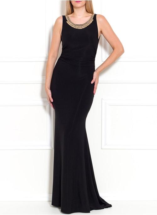 74012a66e017 Spoločenské dlhé šaty s náhrdelníkom - čierna ...