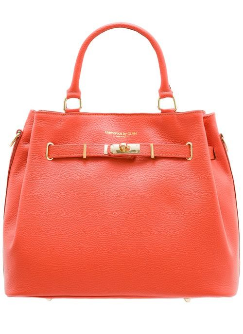 Real leather handbag Glamorous by GLAM - Orange