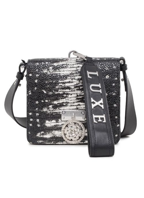 Real leather crossbody bag Guess Luxe - Black