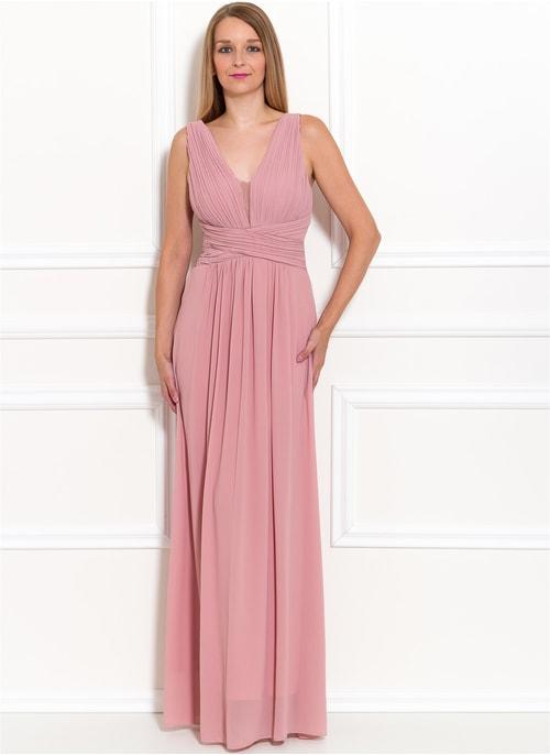 3a01a57777c6 Společenské dlouhé šaty jednoduché skládané - růžová ...