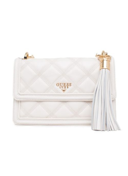 Real leather crossbody bag Guess Luxe - White