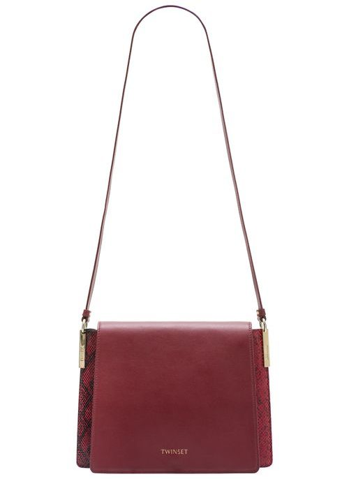 Real leather crossbody bag TWINSET - Wine