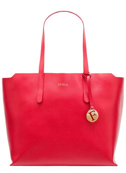 Real leather shoulder bag Furla - Red