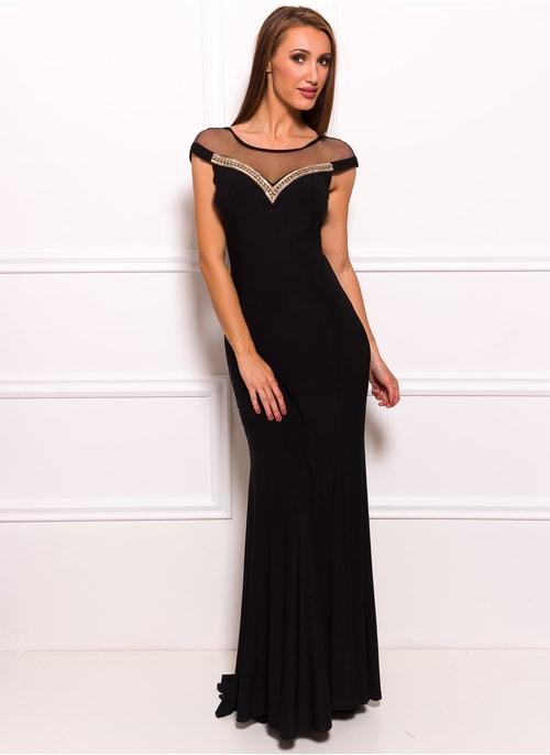 f20b5c2c7c52 Spoločenské dlhé šaty so zdobeným dekoltom - čierna ...