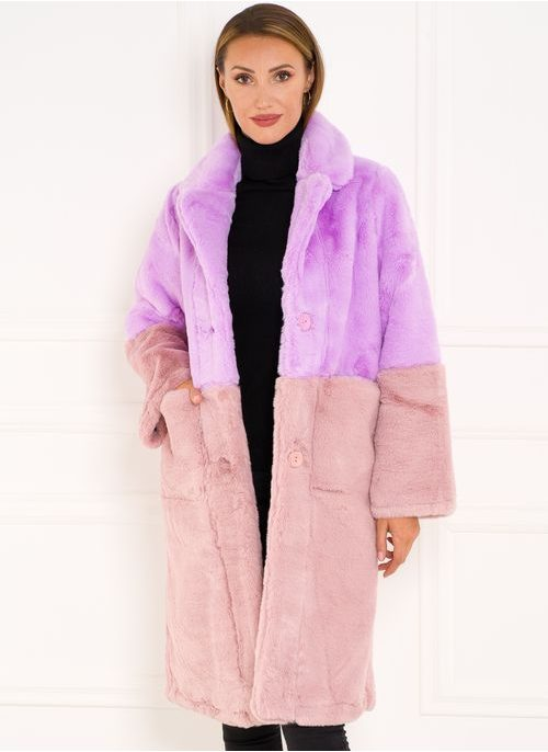 Teddy coat Due Linee - Pink