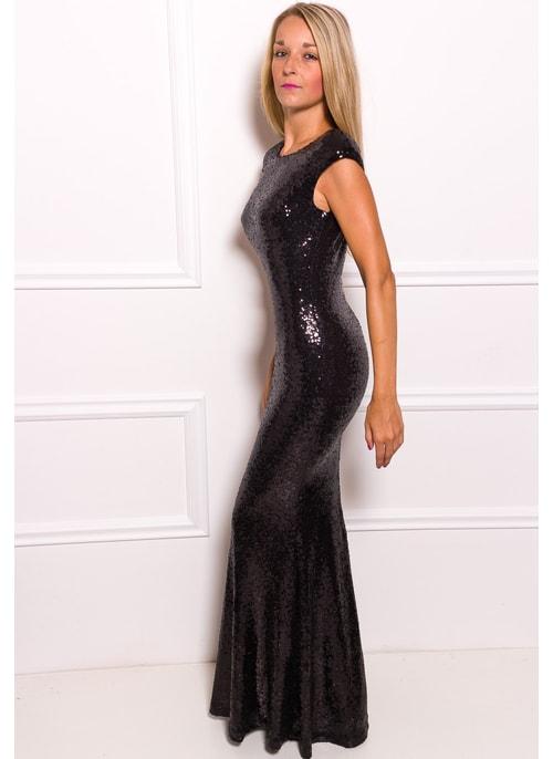 51cec9d05bb7 ... Spoločenské Luxusné dlhé šaty s flitrami - čierna