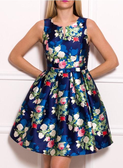 9c011bb69d Dámske šaty A strih modré s kvetinami ...