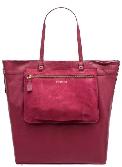 Real leather shoulder bag TWINSET - Wine