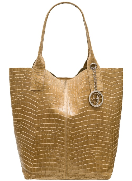 Real leather shopper bag Glamorous by GLAM - Beige