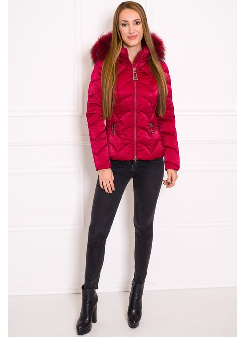 Due Linee Women's winter jacket with real fox fur - Wine