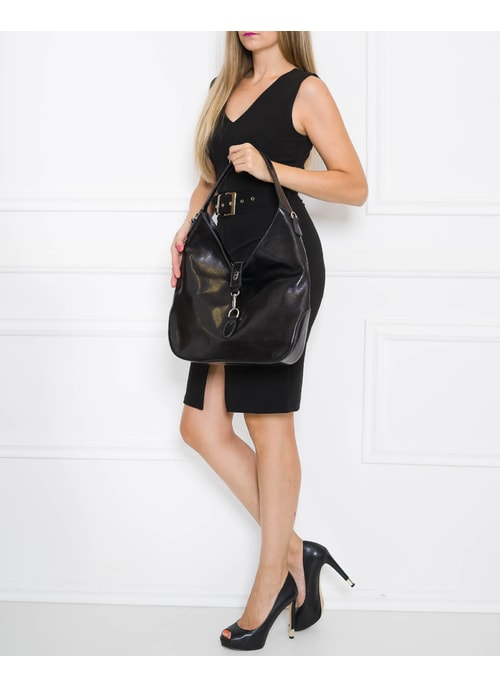 Real leather shoulder bag Glamorous by GLAM - Black