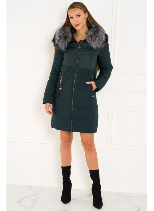 Winter jacket with real fox fur Due Linee - Green
