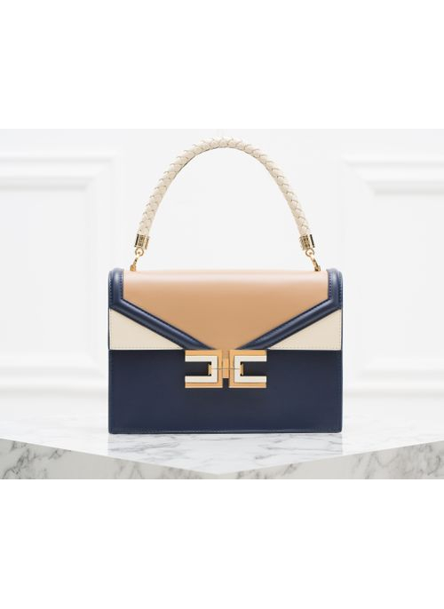 Real leather handbag Elisabetta Franchi - Blue