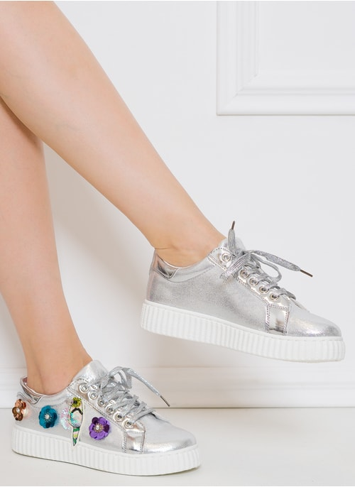 Women's sneakers GLAM&GLAMADISE shoes - Silver
