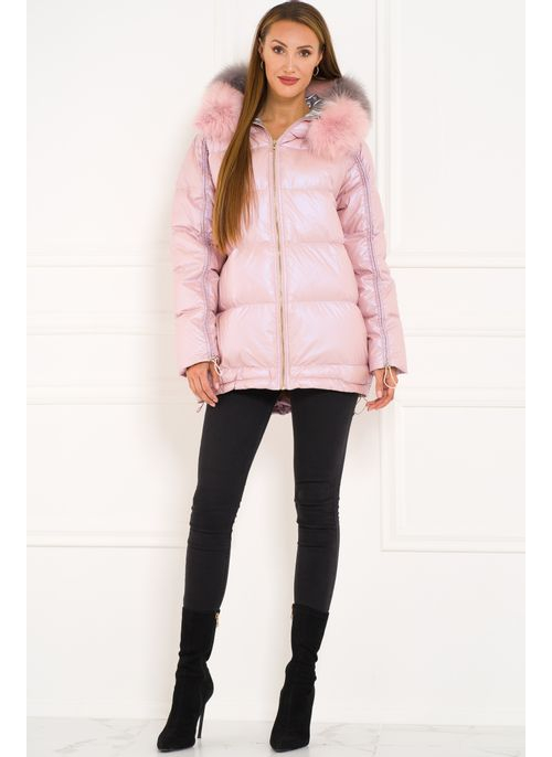 Winter jacket with real fox fur Due Linee - Pink
