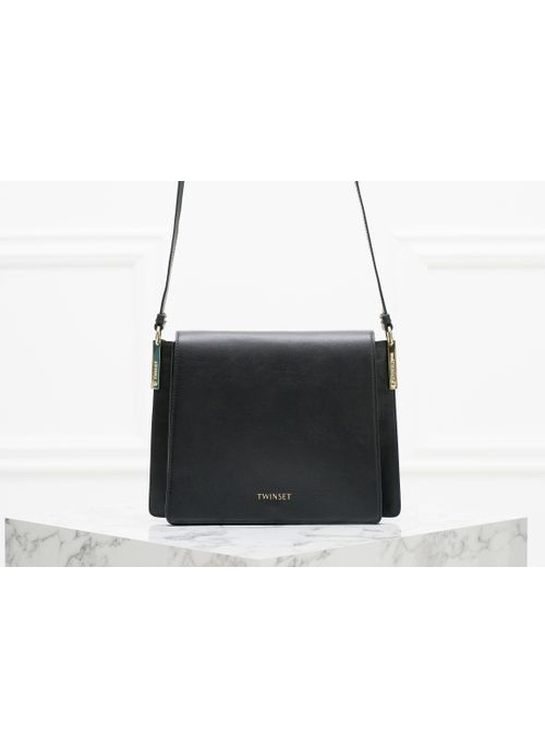 Real leather crossbody bag TWINSET - Black